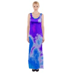 Purple And Blue Clouds Maxi Thigh Split Dress