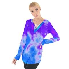 Purple And Blue Clouds Women s Tie Up Tee