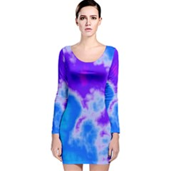 Purple And Blue Clouds Long Sleeve Velvet Bodycon Dress