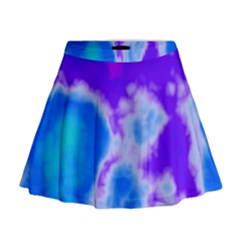 Purple And Blue Clouds Mini Flare Skirt