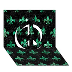 Royal1 Black Marble & Green Marble (r) Peace Sign 3d Greeting Card (7x5)