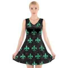 RYL1 BK-GR MARBLE (R) V-Neck Sleeveless Skater Dress