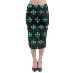 Royal1 Black Marble & Green Marble (r) Midi Pencil Skirt