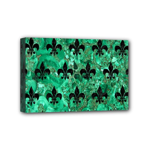 Royal1 Black Marble & Green Marble Mini Canvas 6  X 4  (stretched)