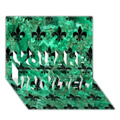 Royal1 Black Marble & Green Marble You Are Invited 3d Greeting Card (7x5)