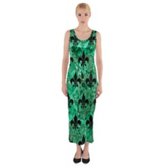 Royal1 Black Marble & Green Marble Fitted Maxi Dress