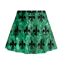 Royal1 Black Marble & Green Marble Mini Flare Skirt
