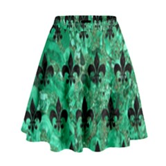 Royal1 Black Marble & Green Marble High Waist Skirt