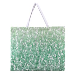 Green Ombre feather pattern, white, Zipper Large Tote Bag