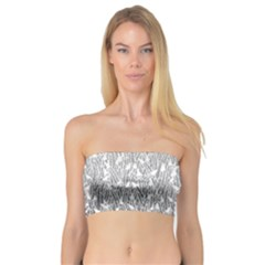 Grey Ombre Feather Pattern, White, Bandeau Top