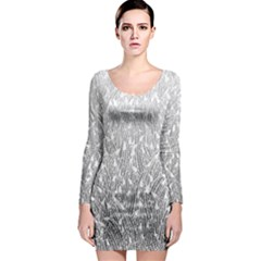 Grey Ombre Feather Pattern, White, Long Sleeve Bodycon Dress