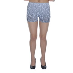 Grey Ombre Feather Pattern, White, Skinny Shorts