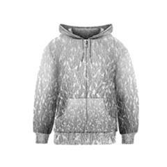 Grey Ombre Feather Pattern, White, Kids  Zipper Hoodie