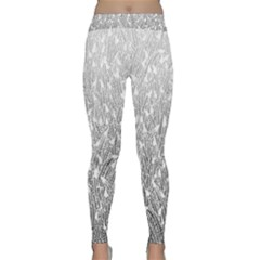 Grey Ombre Feather Pattern, White, Yoga Leggings