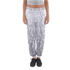 Grey Ombre Feather Pattern, White, Women s Jogger Sweatpants