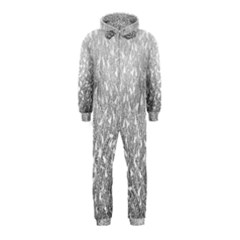 Grey Ombre Feather Pattern, White, Hooded Jumpsuit (Kids)