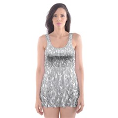 Grey Ombre Feather Pattern, White, Skater Dress Swimsuit