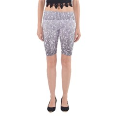 Grey Ombre Feather Pattern, White, Yoga Cropped Leggings