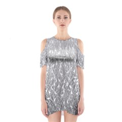 Grey Ombre Feather Pattern, White, Cutout Shoulder Dress