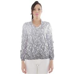Grey Ombre Feather Pattern, White, Wind Breaker (Women)