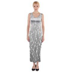 Grey Ombre Feather Pattern, White, Fitted Maxi Dress