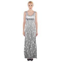 Grey Ombre Feather Pattern, White, Maxi Thigh Split Dress