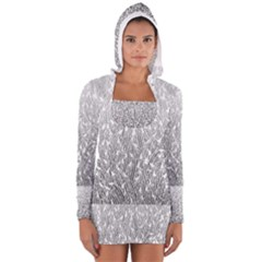 Grey Ombre Feather Pattern, White, Women s Long Sleeve Hooded T-shirt