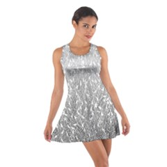 Grey Ombre Feather Pattern, White, Racerback Dresses