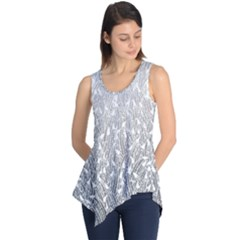 Grey Ombre Feather Pattern, White, Sleeveless Tunic
