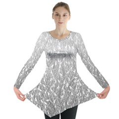 Grey Ombre Feather Pattern, White, Long Sleeve Tunic