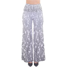 Grey Ombre Feather Pattern, White, Pants