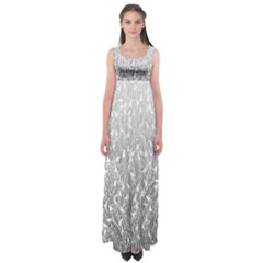 Grey Ombre Feather Pattern, White, Empire Waist Maxi Dress