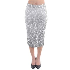 Grey Ombre Feather Pattern, White, Midi Pencil Skirt