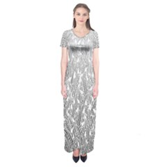Grey Ombre Feather Pattern, White, Short Sleeve Maxi Dress