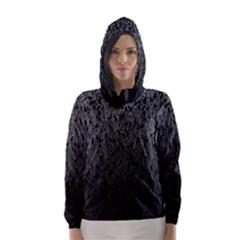 Grey Ombre Feather Pattern, Black, Hooded Wind Breaker (Women)