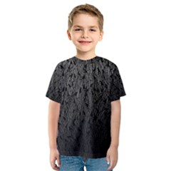 Grey Ombre Feather Pattern, Black, Kid s Sport Mesh Tee