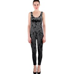 Grey Ombre Feather Pattern, Black, OnePiece Catsuit