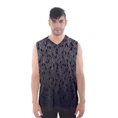 Grey Ombre Feather Pattern, Black, Men s Basketball Tank Top