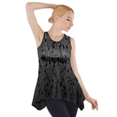 Grey Ombre Feather Pattern, Black, Side Drop Tank Tunic