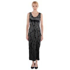 Grey Ombre Feather Pattern, Black, Fitted Maxi Dress