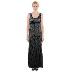 Grey Ombre Feather Pattern, Black, Maxi Thigh Split Dress
