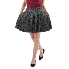Grey Ombre Feather Pattern, Black, A-Line Pocket Skirt