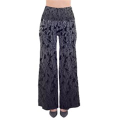 Grey Ombre Feather Pattern, Black, Pants