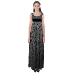 Grey Ombre Feather Pattern, Black, Empire Waist Maxi Dress