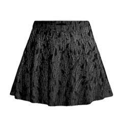 Grey Ombre Feather Pattern, Black, Mini Flare Skirt