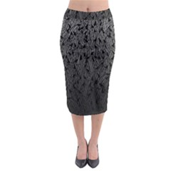 Grey Ombre Feather Pattern, Black, Midi Pencil Skirt