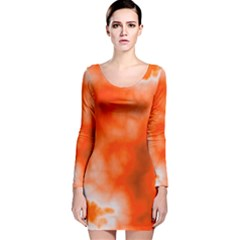 Orange Essence  Long Sleeve Velvet Bodycon Dress
