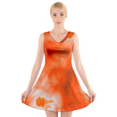Orange Essence  V-Neck Sleeveless Skater Dress