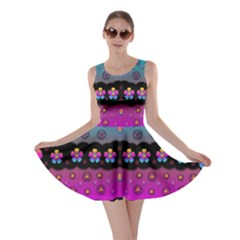 Rainbow  Big Flowers In Peace For Love And Freedom Skater Dress