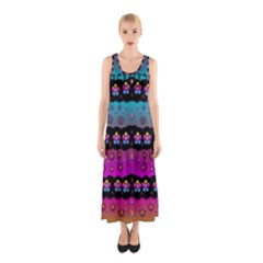 Rainbow  Big Flowers In Peace For Love And Freedom Sleeveless Maxi Dress